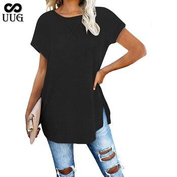 UUG 2020 New Womens T-shirt Summer Short Sleeve O-neck Casual Tee Tops Female T shirt Woman Clothing Fashion Feminino