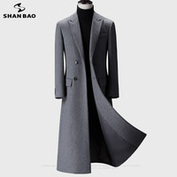 2019 winter new over the knee long men's fashion slim wool coat luxury high quality business gentleman youth warm wool coat