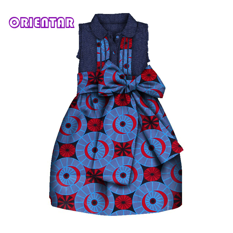 Children African Clothes Sleeveless Dresses For Kids Girls Africa Print High Waist With Big Bowknot Cute Girl Party Dress WYT259