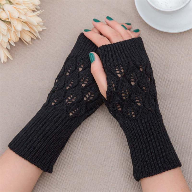 Autumn Winter Women's Wool Arm Warmers Knitted Woolen Arm Sleeve Solid Fine Long Knitted Fingerless Gloves Wholesale