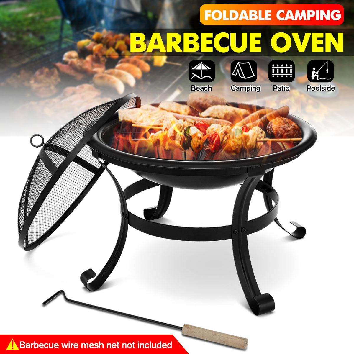 Portable Wood Burning Fire Pits BBQ Grill Outdoor Fire Pit Stove Garden Patio Wood Log Barbecue Grill Net Set Cooking Tools Camp