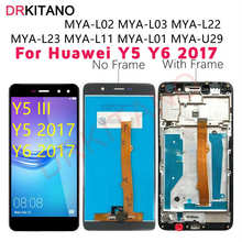 Drkitano display para huawei y5 2017 display lcd y6 2017 mya l22 u29 tela de toque para huawei y5 2017 display com quadro substituir
