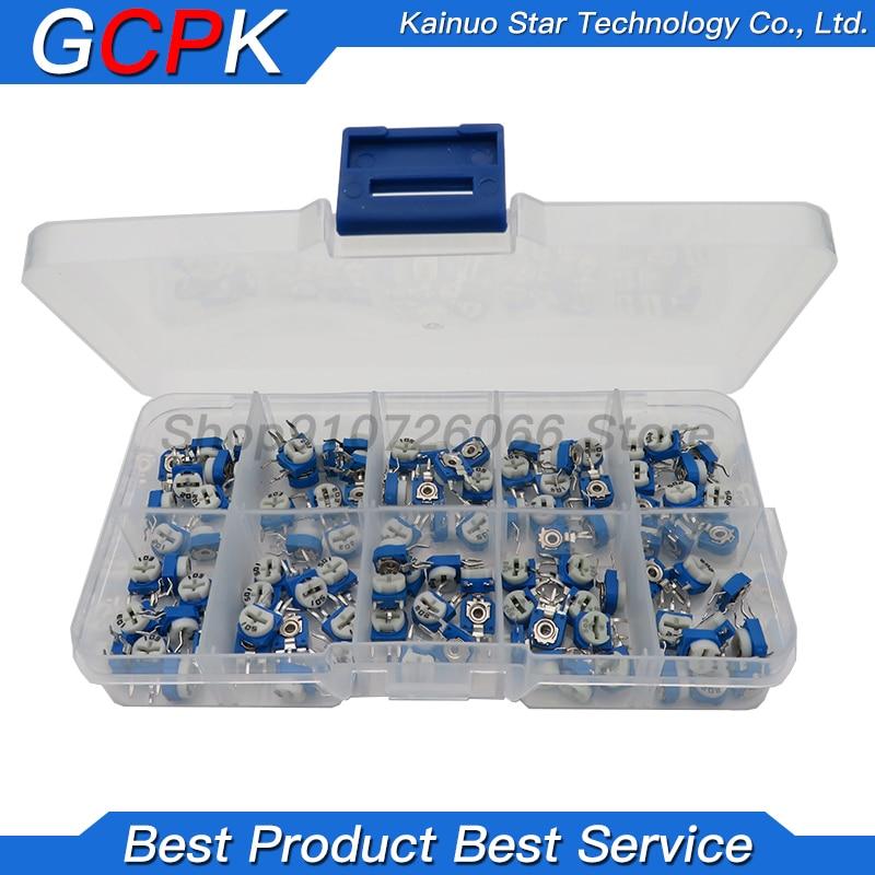 Kit de resistencias verticales ajustables RM063, 100 ohm-1M ohm, * 10 10 valores uds, juego de potenciómetros de ajuste multigiro, 500 Uds. Por lote