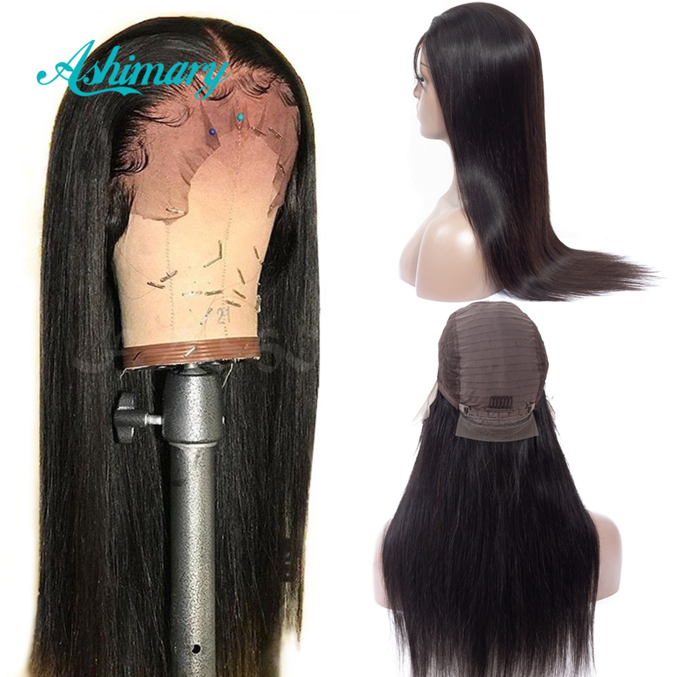 Ashimary Wig Remy Human-Hair-Wigs Lace-Frontal Straight Pre-Plucked Black Women Brazilian