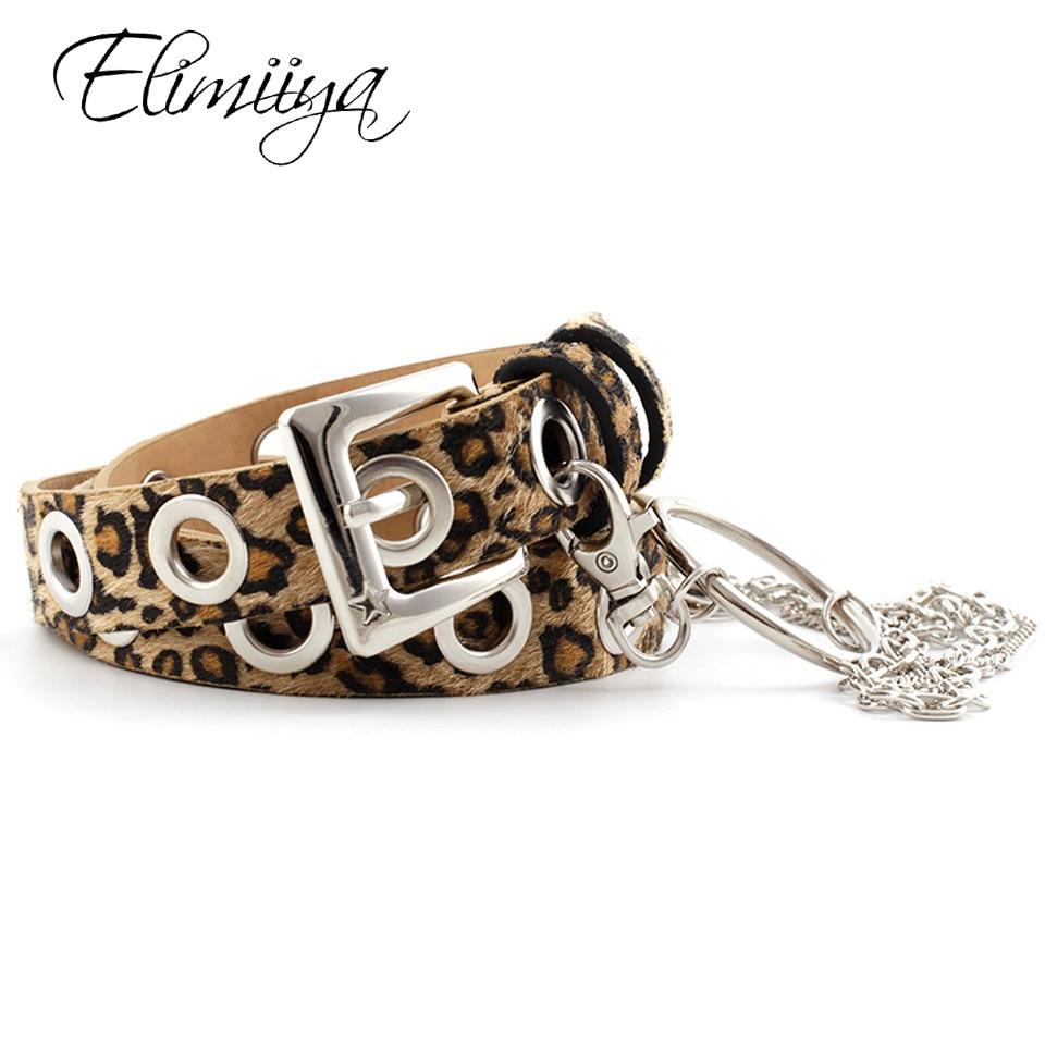 Elimiiya Punk Belt Women Fashion Rock Ring Chain Belts Luxury Square Metal Buckle Leopard Snake Black Strap ремень на брюки