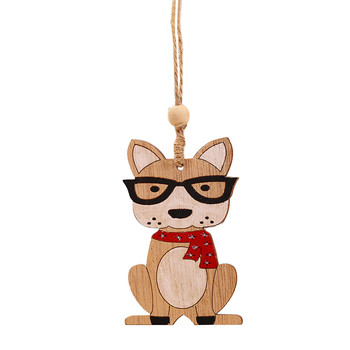 1PC 2020 Wooden Hanging Christmas Tree Cabin Elk Car Dog Ornament Xmas Party christmas pendant decorations for home navidad10.29 image