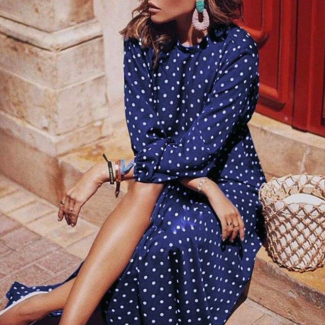 puff Sleeve Polka Dot Printed Long Dress 2