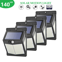 4PCS Three-sided 140 LED Solar Light Outdoor Lighting 3modes powerful bright PIR Motion Sensor Wall Lamp Waterproof Yard Light