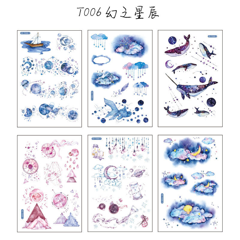 6Sheets Cute Cartoon Sticker Kawaii Whale Stationery Sticker Paper Adhesive Sticker For Kids DIY Scrapbooking Albums Supplies