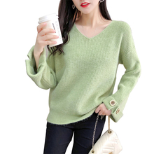 2019 Autumn Sweater Winter Women Fashion Sexy V-neck Casual Women Sweaters New Pullover Warm Long Sleeve Knitted Sweater цена и фото