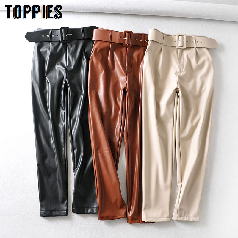 Pantalones de piel de imitación para mujer, pantalón de cintura alta, color liso, negro, pu, ropa de calle, primavera 2020