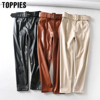 2020 spring faux leather pants solid color high waist pants women black pu trousers streetwear