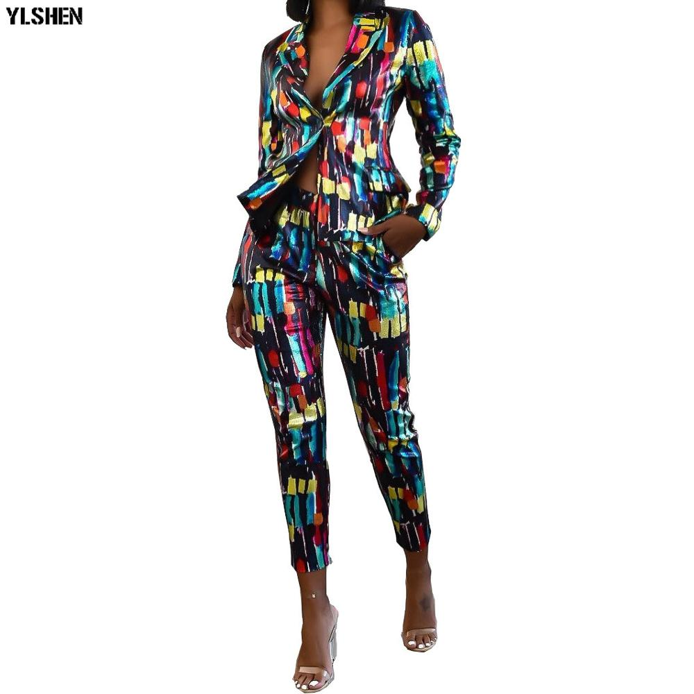 2 Piece Set African Clothes Dashiki Print African Dresses For Women Bazin Riche Long Sleeve Tops Jackets + Pants Suits Clothing