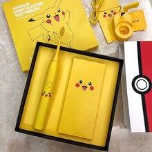 โซนิคไฟฟ้าแปรงสีฟันคุณภาพสูงสีเหลือง Pokemon แปรงสีฟัน Wireless Induction ชาร์จ Ipx7 กันน้ำ Whitening สุขภาพ