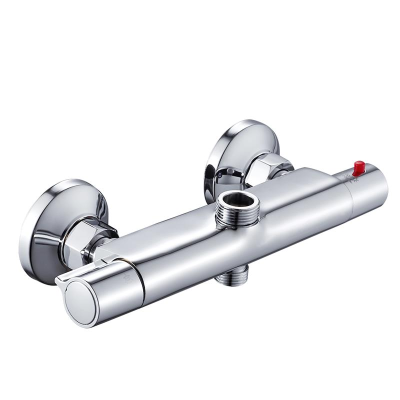 Bath Shower Faucet Thermostatic-Faucets Mixer Temperature-Control Wall-Mounted Chrome