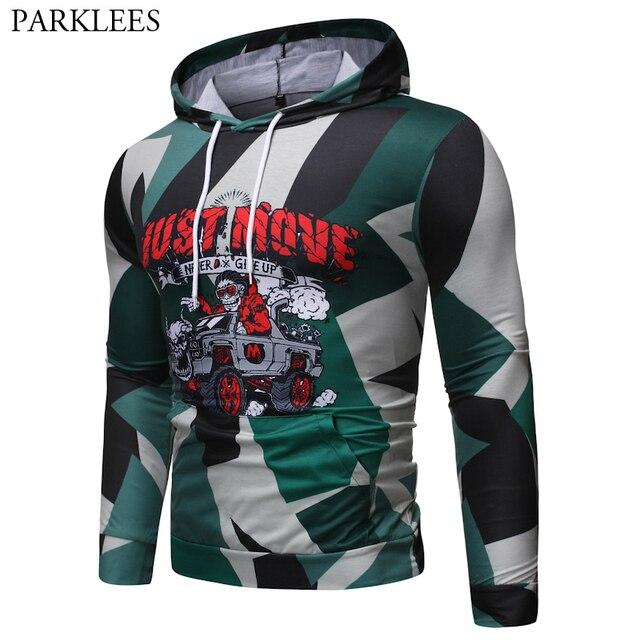 Camouflage Kerst Hoodies Mannen 2019 Grappige Schedel Rijden Auto 3D Gedrukt Hooded Sweatshirts Heren Hip Hop Hipster Streetwear Mannelijke