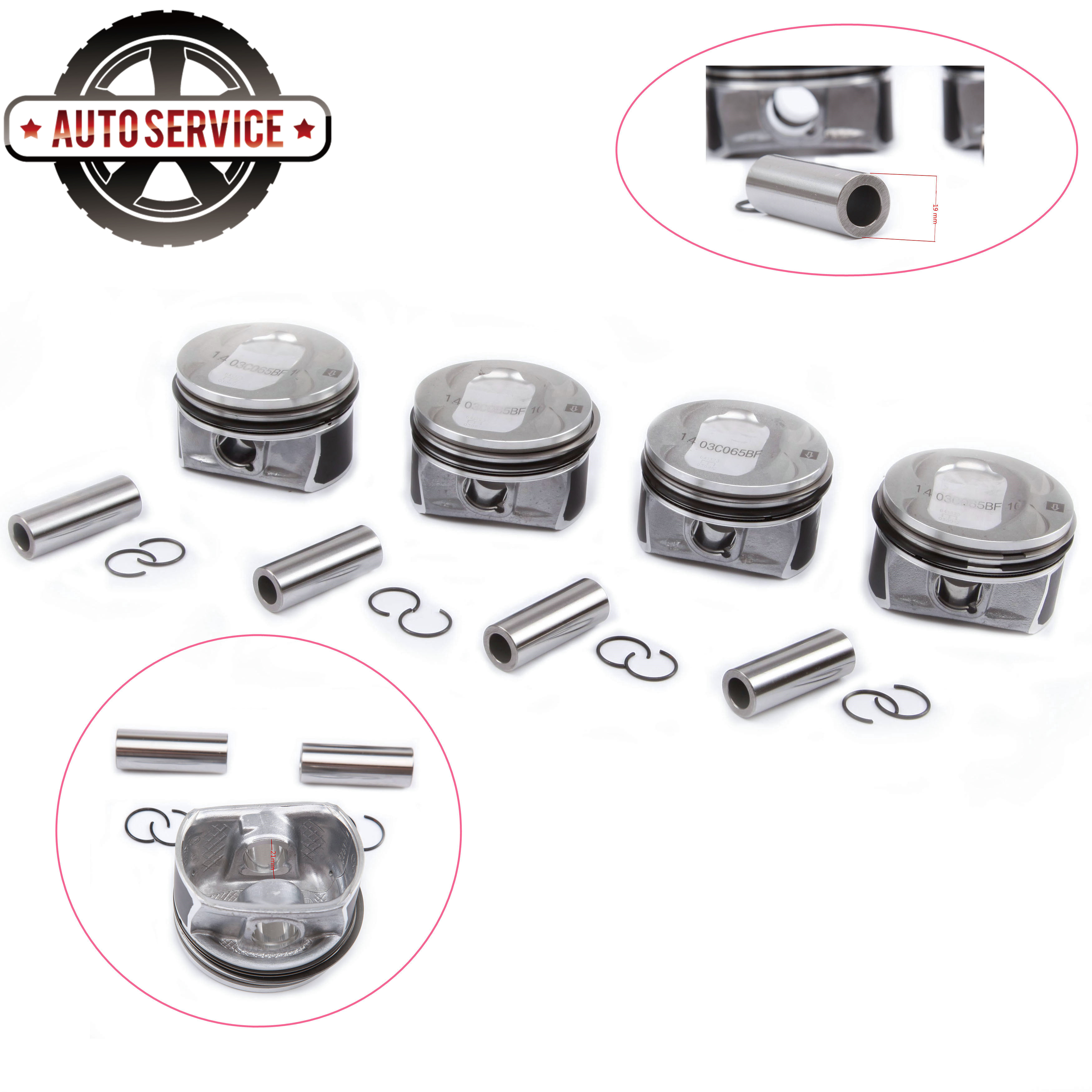 NEW 03C 107 065 BF 1.4T Twin Turbocharger Piston & Rings For Audi A1 VW Golf Jetta MK5 6 Tiguan Beetle Passat B7 Pin 19mm 76.5mm|Pistons  Rings  Rods & Parts| |  - title=
