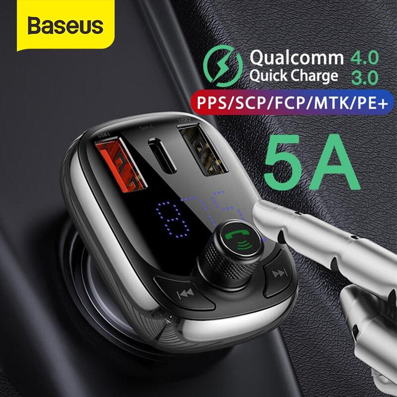 Baseus FM передатчик модулятор Bluetooth 5,0 Handsfree Car Kit аудио MP3 плеер с PPS QC3.0 QC4.0 5A быстрое автомобильное зарядное устройство