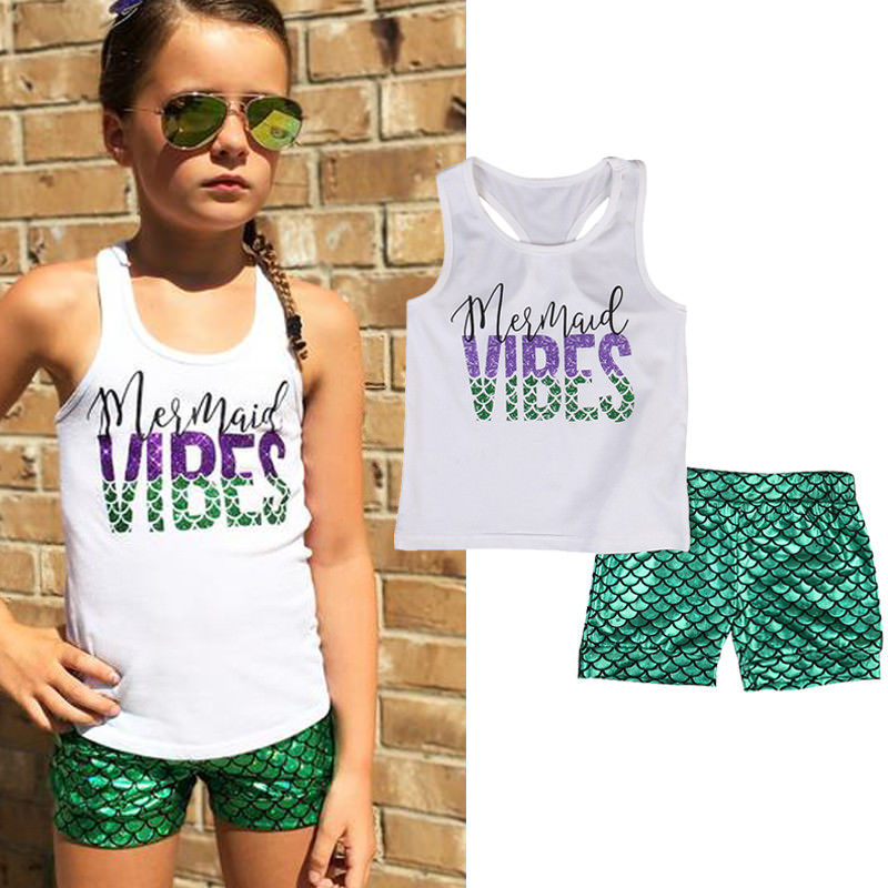 2 Pieces Kids Baby Girls Clothing Set Printing Mermaid Costume Sleeveless Vest Tops +Short Pants Little Girls Clothes 1-6Y