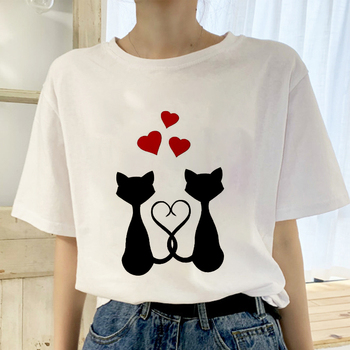 2019 New Summer T shirt Women Love cat printed t-shirt Tops clothes Fashion Cool tshirt female Harajuku Thin section 0-neck Te