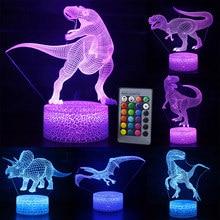 Lâmpada 3d luz noturna de led, 16 cores controle remoto, para mesa, brinquedos, aniversário, presente de natal, para criança