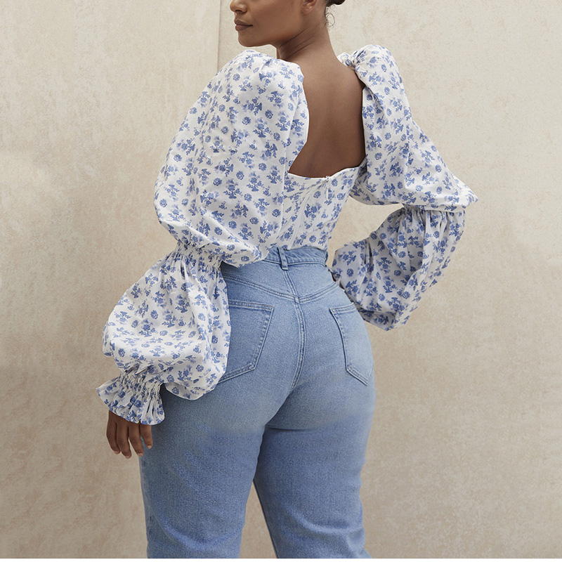 NewAsia Floral Top Women White Sweet Square Neck Long Puff Sleeve Ruched Drawstring Crop Top Autumn Woman Party Blouse 2020 New