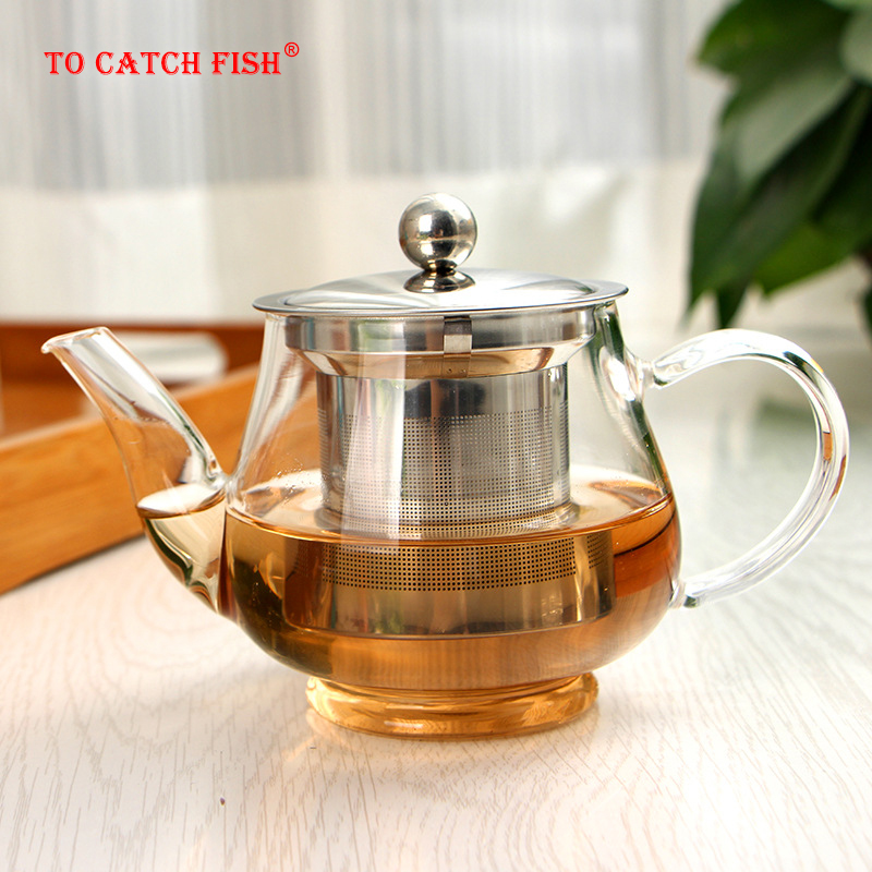 400ml Handmade Teapot With Filter Heat Resistant Glass Tea Pot Infuser Stainless Steel Kettle Wholesale Tea Pots Drinkware