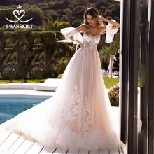 Boho aplikler gelinlik sevgiliye Flare kollu Illusion A Line dantelli tül Vestido de novia Swanskirt TZ32 gelin kıyafeti