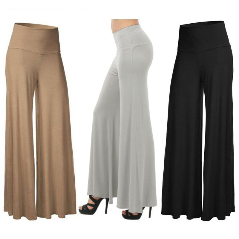 Trousers Maxi Long-Pants Pleated Palazzo Stretch Wide-Leg Loose Office High-Waist Womens title=