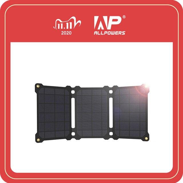 Allpowers bateria portátil de painel solar 21w, células fotovoltaicas e carregadores de celular para sony iphonex plus 11pro ipad