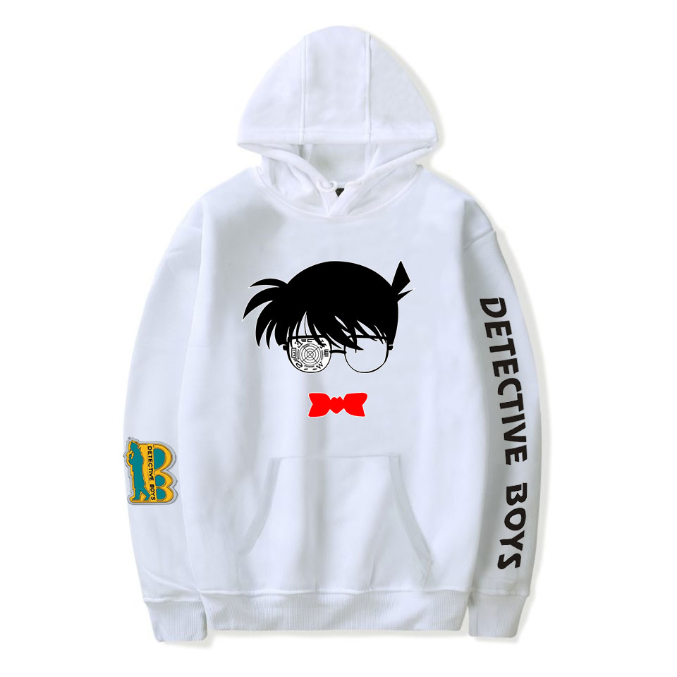 Detective Conan Hoodies Men Women Autumn Sweatshirts Fashion Hooded Print Detective Conan White Hoodies Boys Girls Pullovers