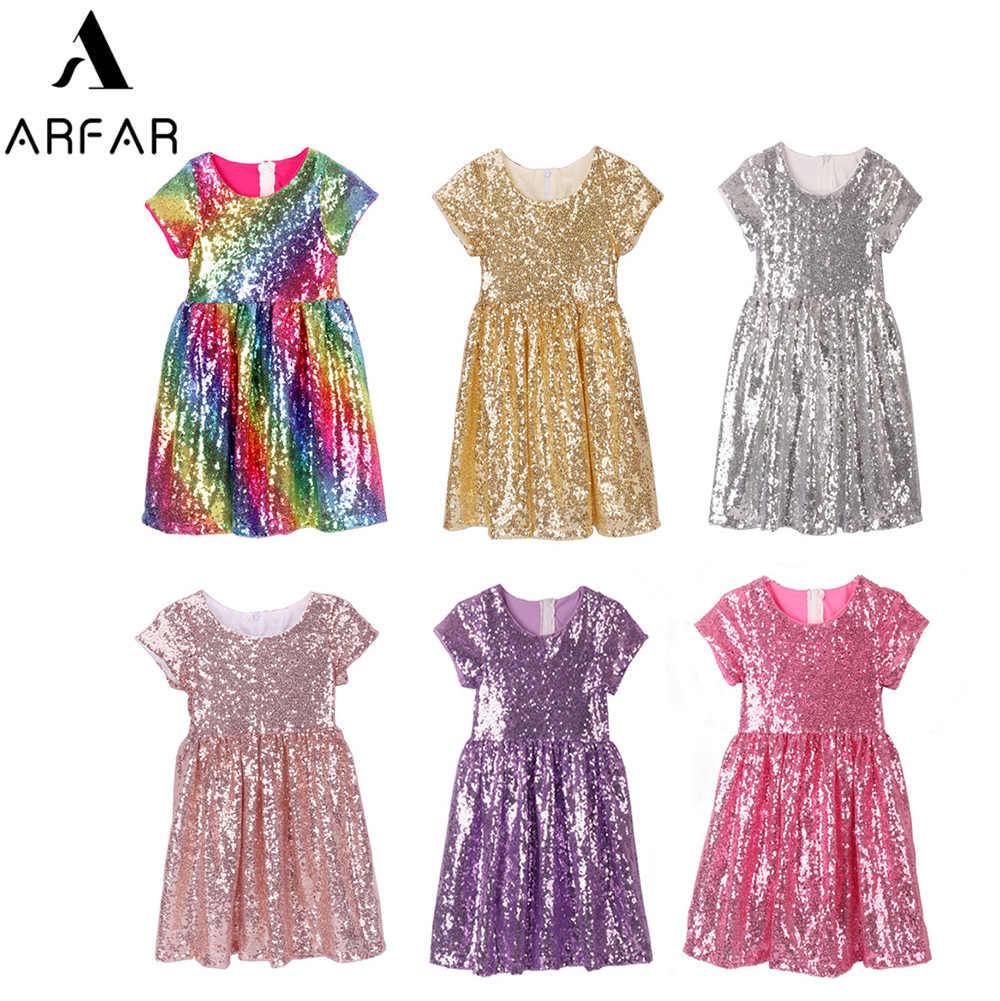 ARFAR Baby Mädchen Pailletten Kleid Rosa Prinzessin Kleid für