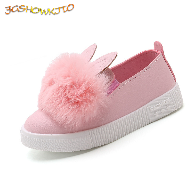JGSHOWKITO Autumn Winter Girls Flats Shoes With Rabbit Ear Kids Shoes Children Warm Sneakers With Fur Plush Cute Sweet Loafers