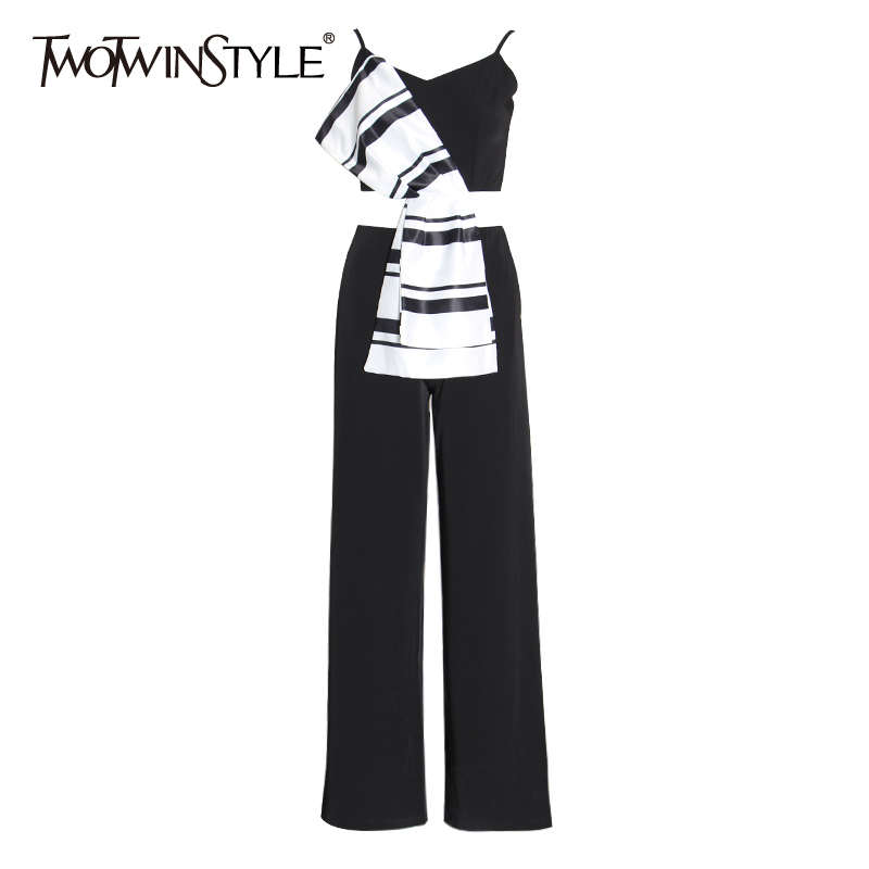 TWOTWINSTYLE Casual Patchwork Bow Jumpsuits Women Square Collar Spaghetti Strap High Waist Hit Color Flare Jumpsuit Female Tide