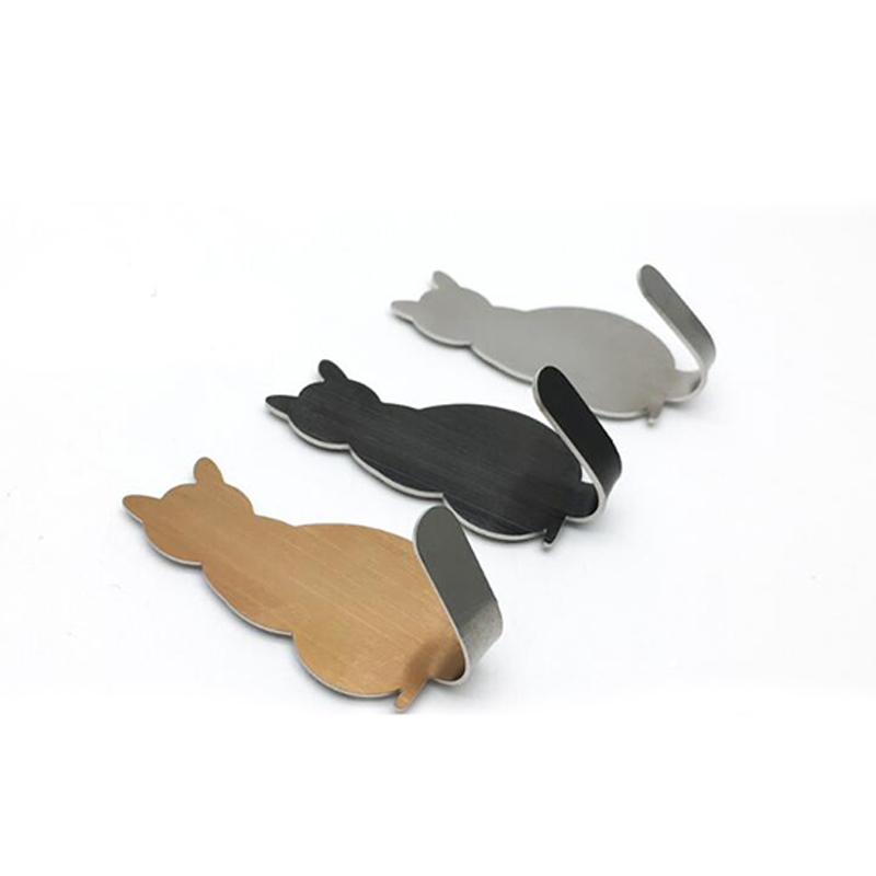 2 PCS Cute Cat-shaped Wall Mount Key Holder Decorative Stainless Steel Hanger Keys Hanger Home Decor Hooks
