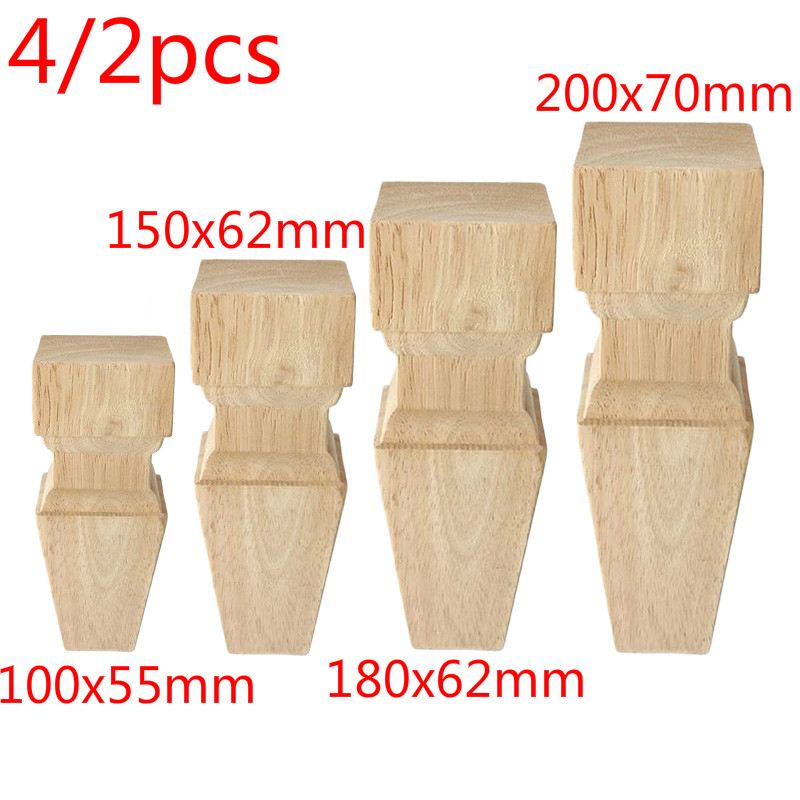 4/2pcs Rubber Wood Timber Furniture Legs Feet Wooden Color Table Cabinet Chair Desk Legs Feet