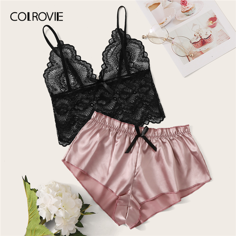 COLROVIE Floral Lace Bralette With Satin Shorts 2019 Summer Stretchy Sexy   Pajamas   Women Sleepwear Ladies Shorts   Set