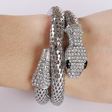 Gothic Punk Fashion Crystal Snake Bangle Wristband Stretch Bangle Bracelet Spiral Design Arm Cuff for Women punk style snake cuff ring for women