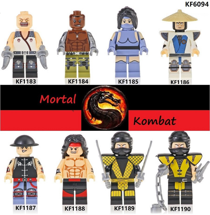 8pcs / Set Compatible Legoingly Mortal Kombat Game Series Building Blocks Minifigures Brain Game Children Gift Diy Model