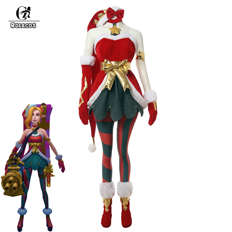 ROLECOS Game LOL Jinx Cosplay Costume Christmas Rascal Jinx Cosplay Dress Pants Hat Gloves Fancy Suit XMAS Party Sexy Costume