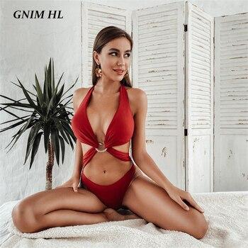 GNIM Bandge Bikini Swimwear Women 2020 Summer Sexy Solid Bathing Suit Women One Piece Brazilian Swimsuit Beachwear Biquini New