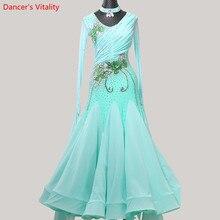 女性ワルツダンス着用裾刺繍ダイヤモンドスプライシングドレス社交国家標準ジャズ、モダンダンスステージ衣装