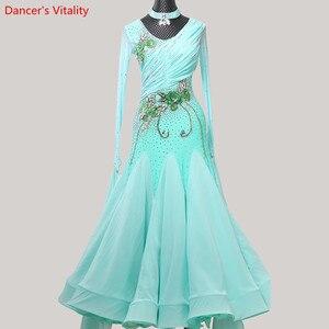 Image 1 - 女性ワルツダンス着用裾刺繍ダイヤモンドスプライシングドレス社交国家標準ジャズ、モダンダンスステージ衣装