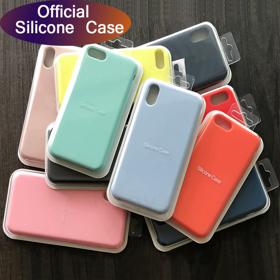 Luxury Official Original Silicone Case For iPhone X Xs Max Xr Silicone Case For iPhone 7 8 6 6S Plus For Apple Case Cover Capa feature phone