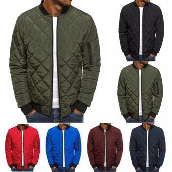 ZOGAA Mens Autumn Jacket Coat Wind Breaker Casual Plaid Men Parka Solid Color Outerwear Winter Overcoat 2019