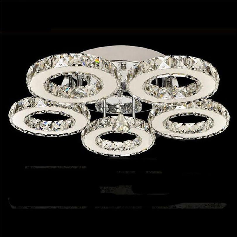 Lustre de plafond en cristal Led, anneaux modernes en cristal lumières de plafond Plafonnier Led en cristal argenté pour la chambre à coucher Lustre de plafond de cuisine