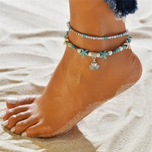 Ailodo Vintage Shell Beads Anklets For Women 2019 Multi Layer Anklet Leg Bracelet Bohemian Beach Ankle Chain Jewelry Gift LD294