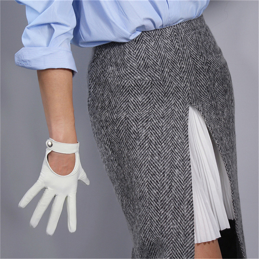 Women  White Leather Gloves Pure Sheepskin Locomotive Hand Back Short Button Silk Lining Touch Screen TB04-4