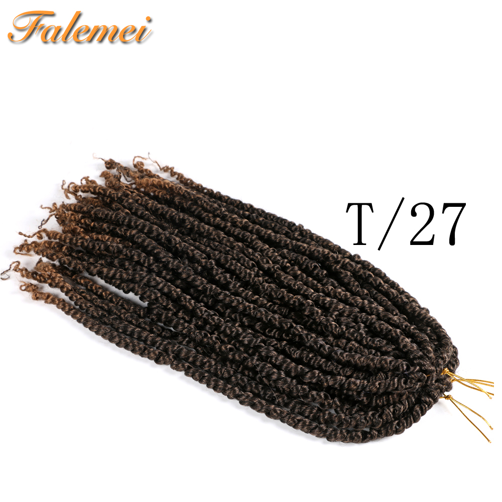 Pre Twisted Passion Twist Synthetic Hair Twists Crochet Hair 18inch Ombre Spring Pre looped Fluffy Bomb Twists Braiding Hair image