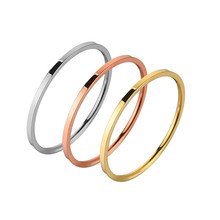 New Fine Rose Gold Stainless Steel Wedding Rings For Women Simple Gold Ring Jewelry Couple Engagement Ring Men Silver Rings Gift(China)